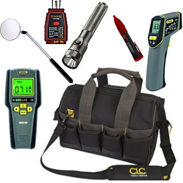 A picture of a complete home inspector tool kit